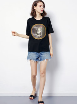 Person Pattern Print O-neck Cotton T-shirt