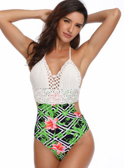 Halter Hollow Out Print Swimwear