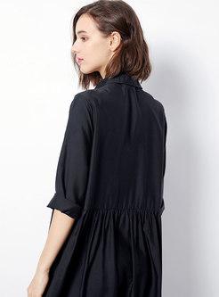 Black Slim Turn-down Collar Shift Dress