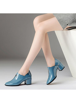 Spring/fall Chunky Heel Genuine Leather Daily Shoes