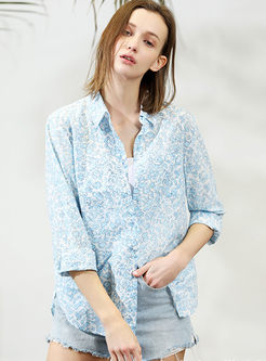 Casual Floral Lapel Single-breasted Blouse