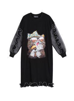 O-neck Long Sleeve Falbala Cat Print Dress