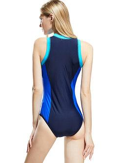Color-blocked O-neck Sleeveless Zipper Slim Swimwear