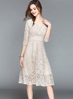 Three Quarters Sleeve High Waist Lace Dress