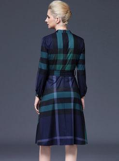 Casual Long Sleeve Plaid Big Hem Dress