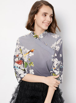 Stylish Print Slash Neck Shift Ethnic Style Top