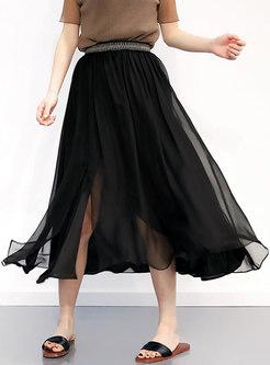 Brief Black Silk Split Elastic Waist A-line Skirt