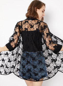 Sexy Lace Perspective Single-breasted Slim Coat