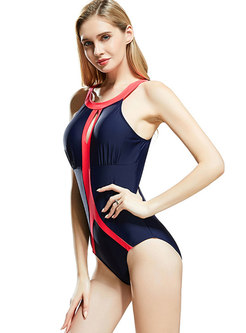 Chic Color-blocked Hollow Out Sheath Swimwear