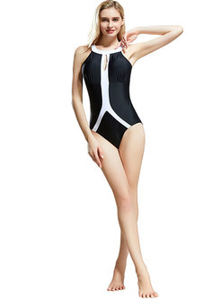 Sexy Color-blocked Hollow Out One Piece Swimwear