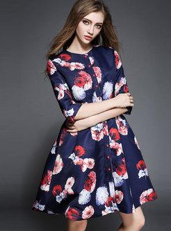 Trendy Print O-neck Single-breasted Skater Dress