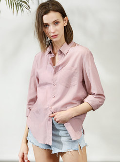 Brief Pure Color Lapel Asymmetric Blouse