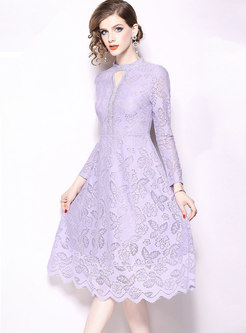 Lace Stand Collar High Waist Hem Skater Dress