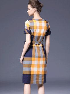 O-neck Color-blocked Plaid Waist Dress
