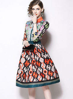 Color-blocked Lapel Print A Line Dress