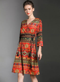 Retro V-neck Three Quarters Sleeve Print Dress