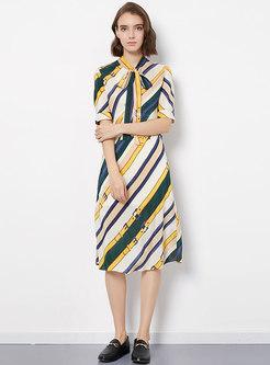 Bowknot Striped Belted Silk Short Sleeve Skater Dress