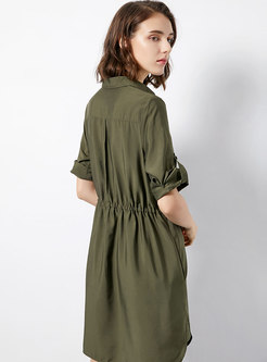 Pure Color Lapel Daily T-shirt Dress