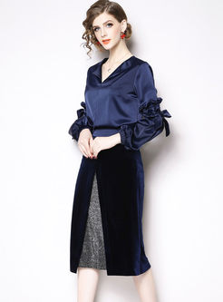 Lantern Sleeve Tied Top & Gold Velvet Skirt