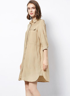 Brief Khaki Turn-down Collar T-shirt Dress