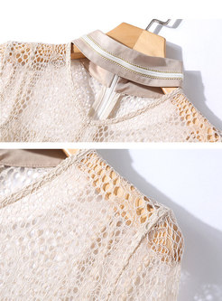 Lace Openwork Patchwork Flare Sleeve Skater Dress