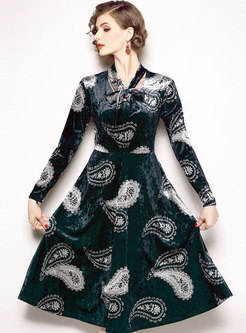 Elegant Velvet Print Tie-collar Slim Skater Dress