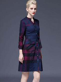 Fashion V-neck Long Sleeve Plaid Dress