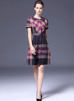 Stylish Short Sleeve Plaid Slim Dress