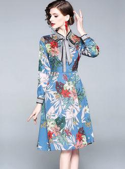 Court Long Sleeve Ribbon Print Dress