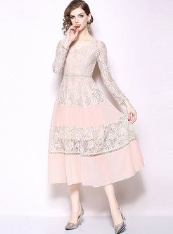 Lace Splicing V-neck High Waist A Line Dress