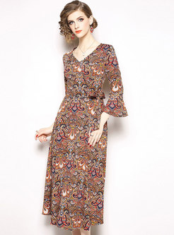 Print V-neck Flare Sleeve Slim Maxi Dress