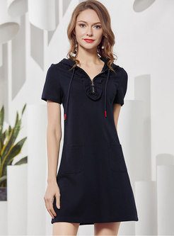Casual Navy Knitted Hooded Zippered A-line Dress