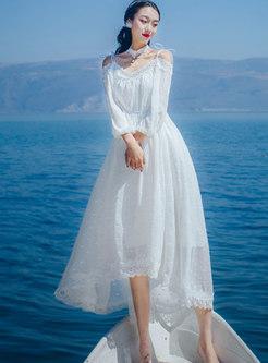 Slash Neck Lace Splicing Slim Asymmetric Maxi Dress