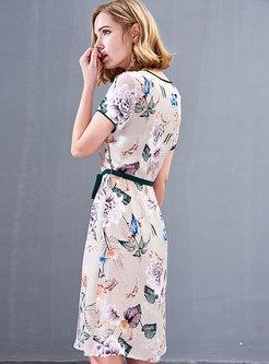 Print Short Sleeve Silk Skater Dress