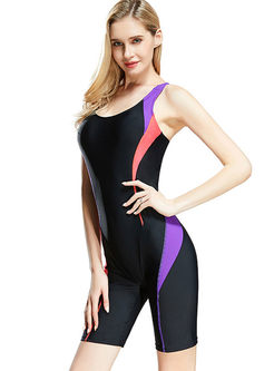 Casual O-neck Sleeveless Backless Swimwear