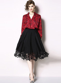 Print V-neck Pullover Blouse & High Waist A Line Skirt