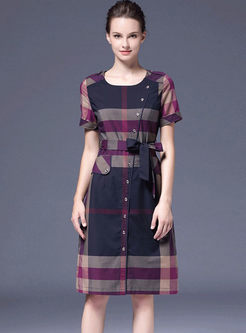 O-neck Color-blocked Plaid Tie-waist Dress