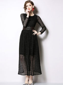 Solid Color O-neck Long Sleeve Slim Dress