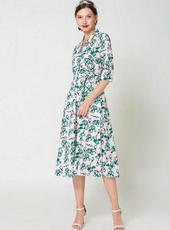 Vintage V-neck Half Sleeve Print Dress