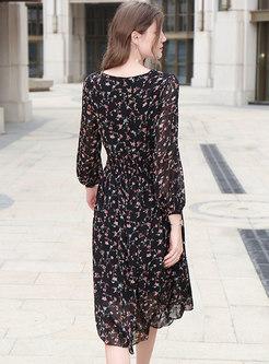 Floral V-neck Gathered Waist Skater Dress