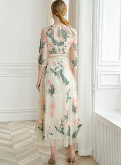 Half Sleeve Mesh Embroidered Maxi Dress