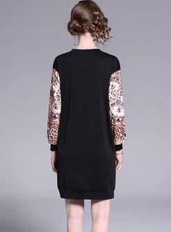Casual O-neck Pullover Leopard Slim Dress