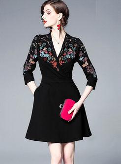 Three Quarters Sleeve Embroidered Dress