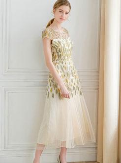 O-neck Short Sleeve Mesh Beaded Maxi Dress
