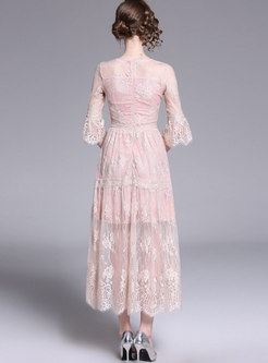 Sweet Pink Lace Flare Sleeve Slim Maxi Dress