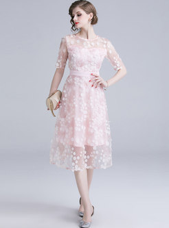 Chic Embroidered Polka Dot Perspective Slim Dress