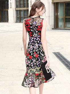 Stylish Embroidered Sleeveless Asymmetric Mermaid Dress