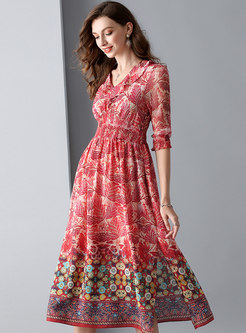 Print Gathered Waist Side-slit Skater Dress