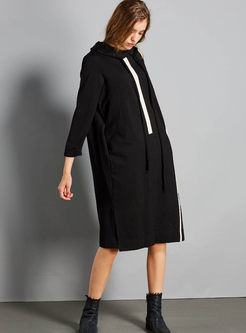 Casual Hooded Long Sleeve Sweatshirt Dress