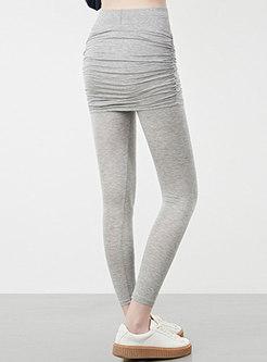 Solid Color Elastic Waist Yoga Pants With Skirt